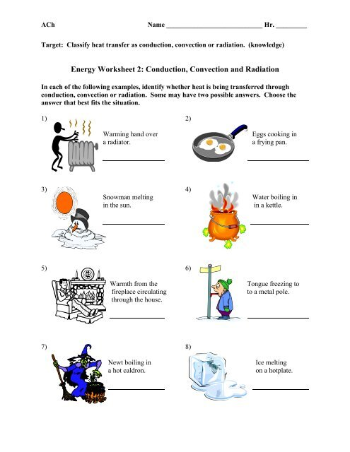 Energy Worksheet 2 - Whitnall High School