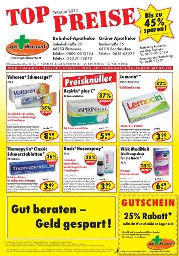 Angebote für Februar 2012 - Apo-Discount
