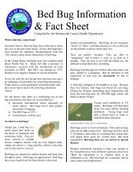 Bed Bug Information & Fact Sheet - Monmouth County