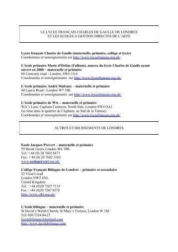liste ecoles - France in the United Kingdom