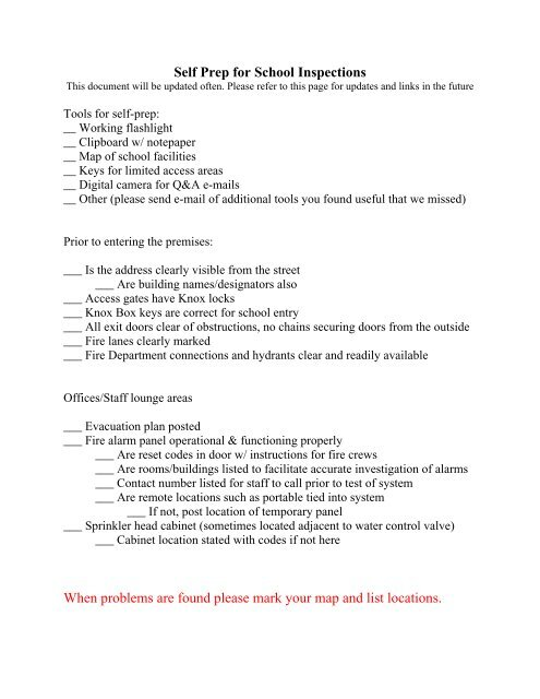 School Inspection Self Preparation Information - Sacramento Fire