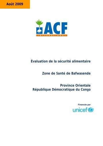 Évaluation de la sécurité alimentaire Zone de Santé de Bafwasende ...