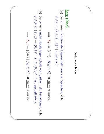 Satz von Rice Satz (Rice). (a) Sei E eine nichttriviale Eigenschaft ...