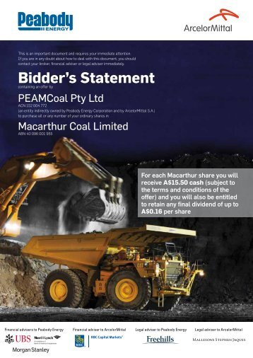 Bidder's Statement - Peabody Energy