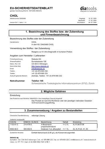 EU-SICHERHEITSDATENBLATT CHOL - diatools AG