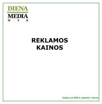 REKLAMOS KAINOS Galioja nuo 2009 m. lapkričio 1 dienos - Diena.lt