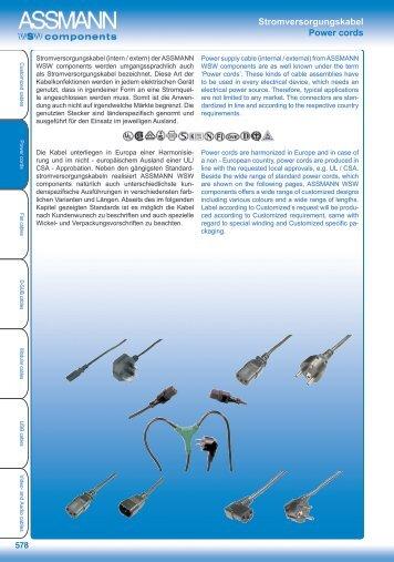 Stromversorgungskabel Power cords - Assmann