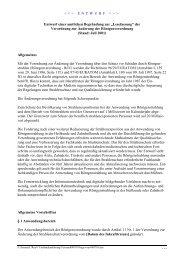 Entwurf einer Begründung der Verordnung zur Änderung der RöV
