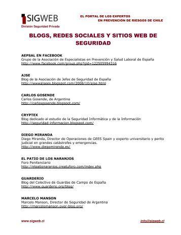BLOGS, REDES SOCIALES Y SITIOS WEB DE SEGURIDAD - Sigweb