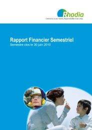 Rapport Financier Semestriel - Rhodia