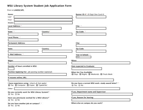 wsu library system student job application form wayne state