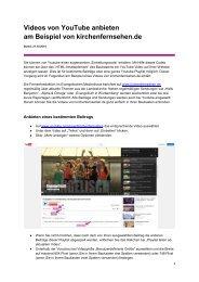 Videos von YouTube anbieten am Beispiel von kirchenfernsehen.de