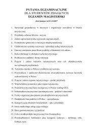 pytania egzaminacyjne dla studentów zdających egzamin magisterski