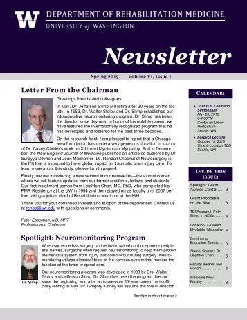 Read the Spring Newsletter - Department of Rehabilitation Medicine ...