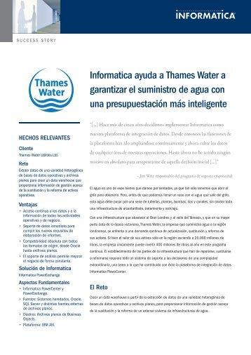 Informatica ayuda a Thames Water a garantizar el suministro de ...