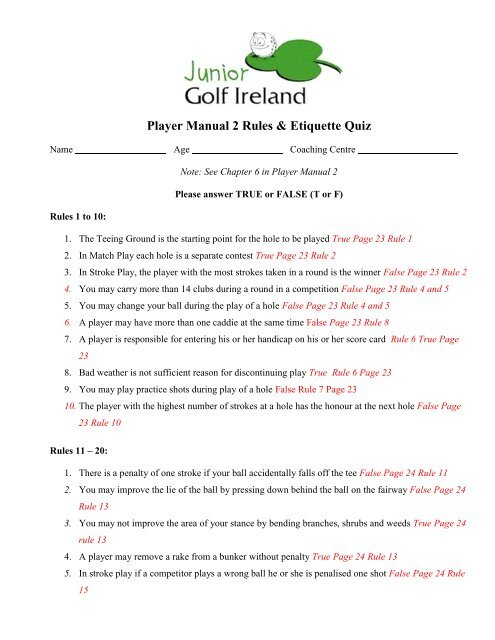 Manual 2 Quiz and Answers - Junior Golf Ireland