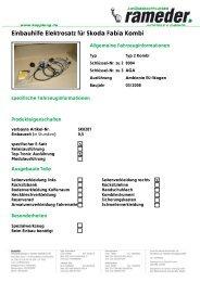 Einbauhilfe Elektrosatz für Skoda Fabia Kombi