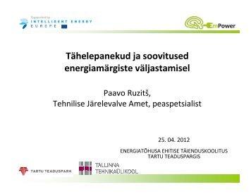 Microsoft PowerPoint - EmPower_IIIm_Energiam ... - Tartu Teaduspark