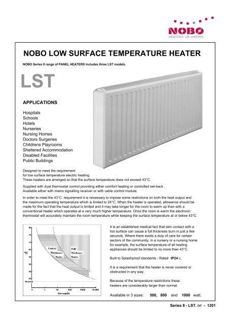NOBO LOW SURFACE TEMPERATURE HEATER - Alert Electrical Nobo Electric Panel Heaters on