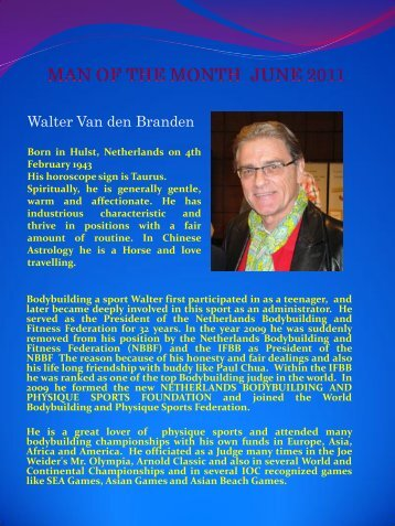 MAN OF THE MONTH JUNE 2011 Walter Van den Branden - ABBF