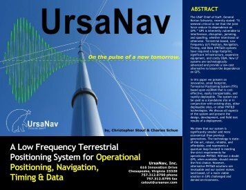 A Low Frequency Terrestrial Positioning System for ... - UrsaNav