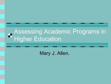 Assessing Academic Programs- Chapter 1