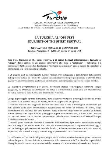 la turchia al josp fest journeys of the spirit festival - Ufficio Turismo ...