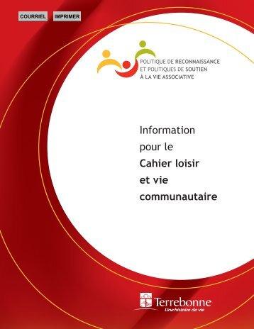 Information pour le Cahier loisir et vie communautaire - Ville de ...