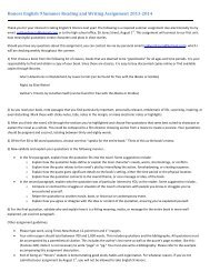 Honors English 9 Summer Reading and Writing Assignment 2013 ...