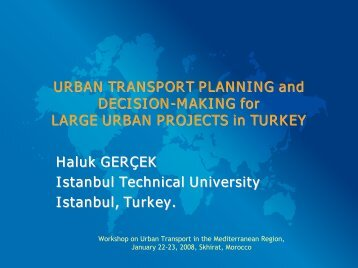 URBAN TRANSPORT PLANNING and DECISION ... - Euromedina
