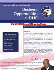 DHS Business Opportunities - November Newsletter - Committee on ...