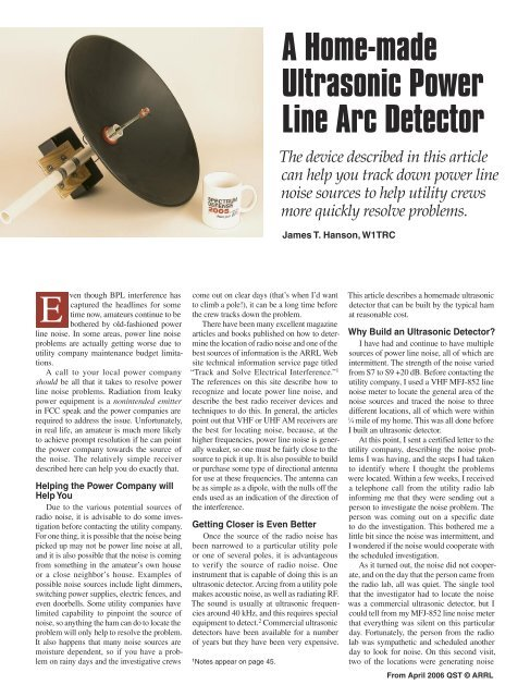 A Home-made Ultrasonic Power Line Arc Detector - ARRL