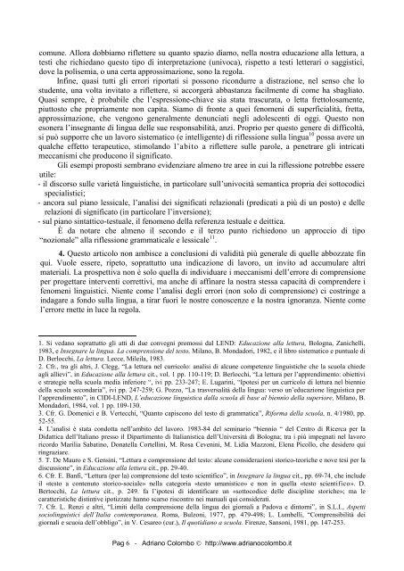Alcuni errori di comprensione in letture curricolari - Adrianocolombo.it