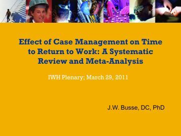 Effect of case management on time to return to work: A systematic ...
