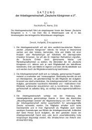 """S A T Z U N G der Arbeitsgemeinschaft """"Deutsche Königinnen e.V""""."""