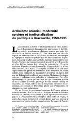 Archaïsme colonial, modernité sorcière et ... - Politique Africaine