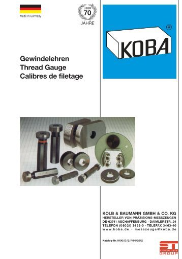 Gewindelehren Thread Gauge Calibres de filetage - KOBA