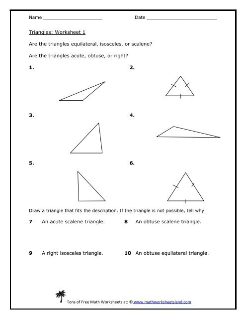 Classifying Triangles 5-Pack - Math Worksheets Land