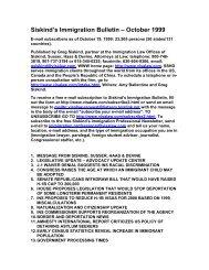 Siskind's Immigration Bulletin – October 1999 - Siskind, Susser
