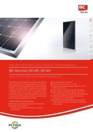 IBC MonoSol 190 MS, 195 MS - ibc solar