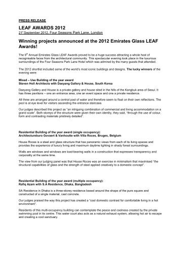 LEAF AWARDS 2012 Winning projects ... - Arena International
