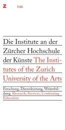 broschuere institute der zhdk (15'000kb) - Zürcher Hochschule der ...