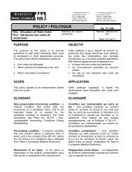 POLICY / POLITIQUE - WorkSafeNB