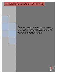 Guide de lecture et d'interprétation des résultats de l'appréciation de ...