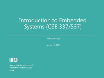 Introduction to Embedded Systems (CSE 337/537) - IIIT
