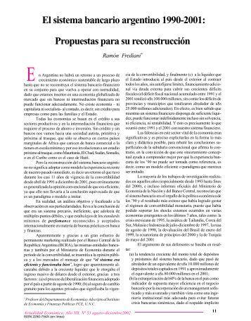 El sistema bancario argentino 1990-2001 - Instituto de Economía y ...
