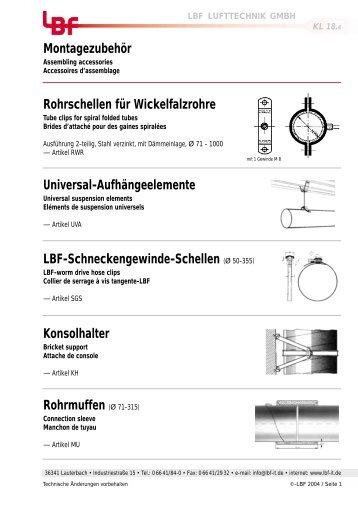 Rohrschellen für Wickelfalzrohre - LBF Lufttechnik GmbH