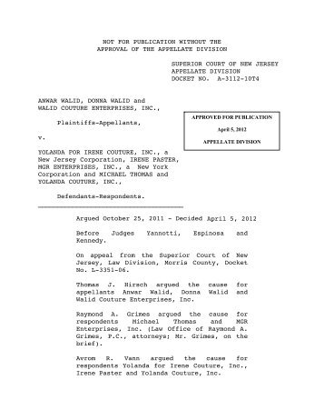 Walid v. Yolanda for Irene Couture, Inc. - Appellate Law NJ Blog