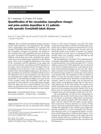 Quantification of the vacuolation (spongiform change) and prion ...