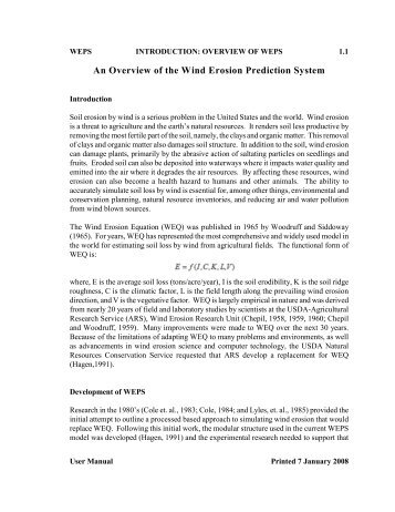 An Overview of the Wind Erosion Prediction System - USDA-ARS ...